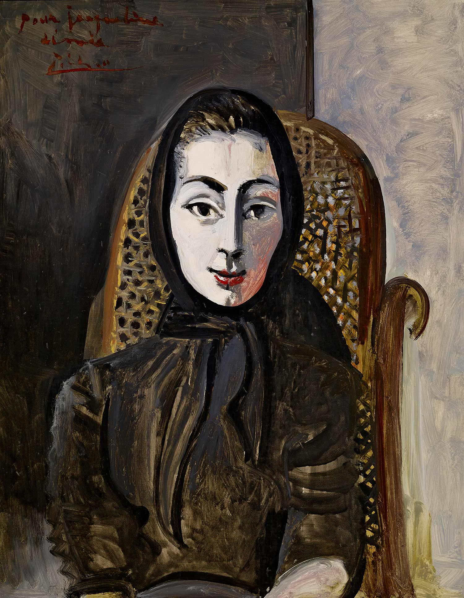 Portrait of Jacqueline in a Black Scarf