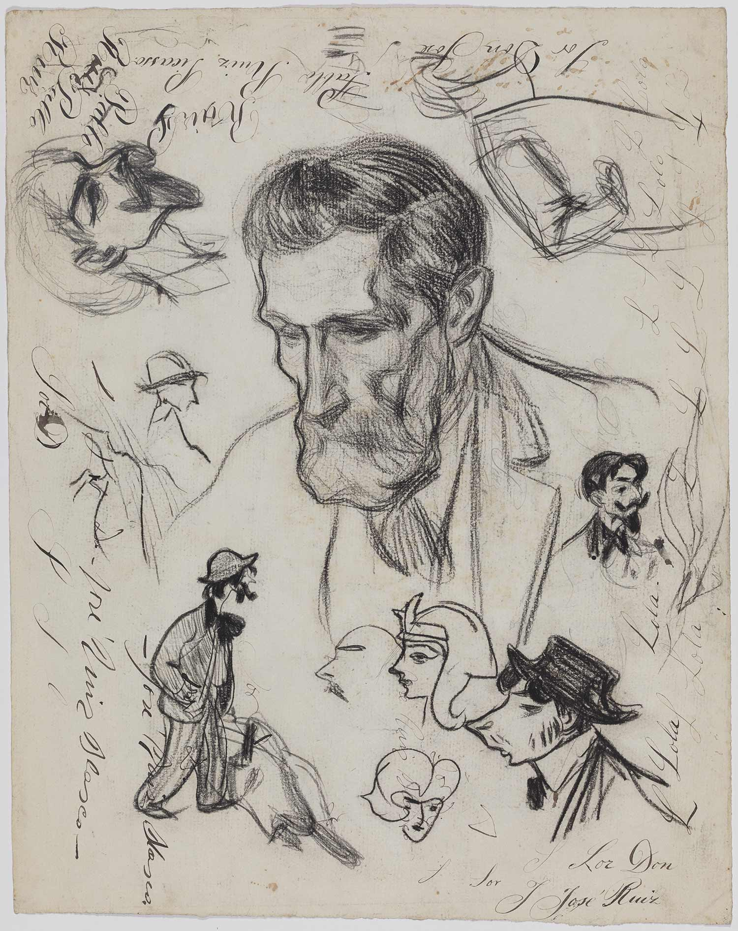 The artist's father, Carles Casagemas and various caricatures