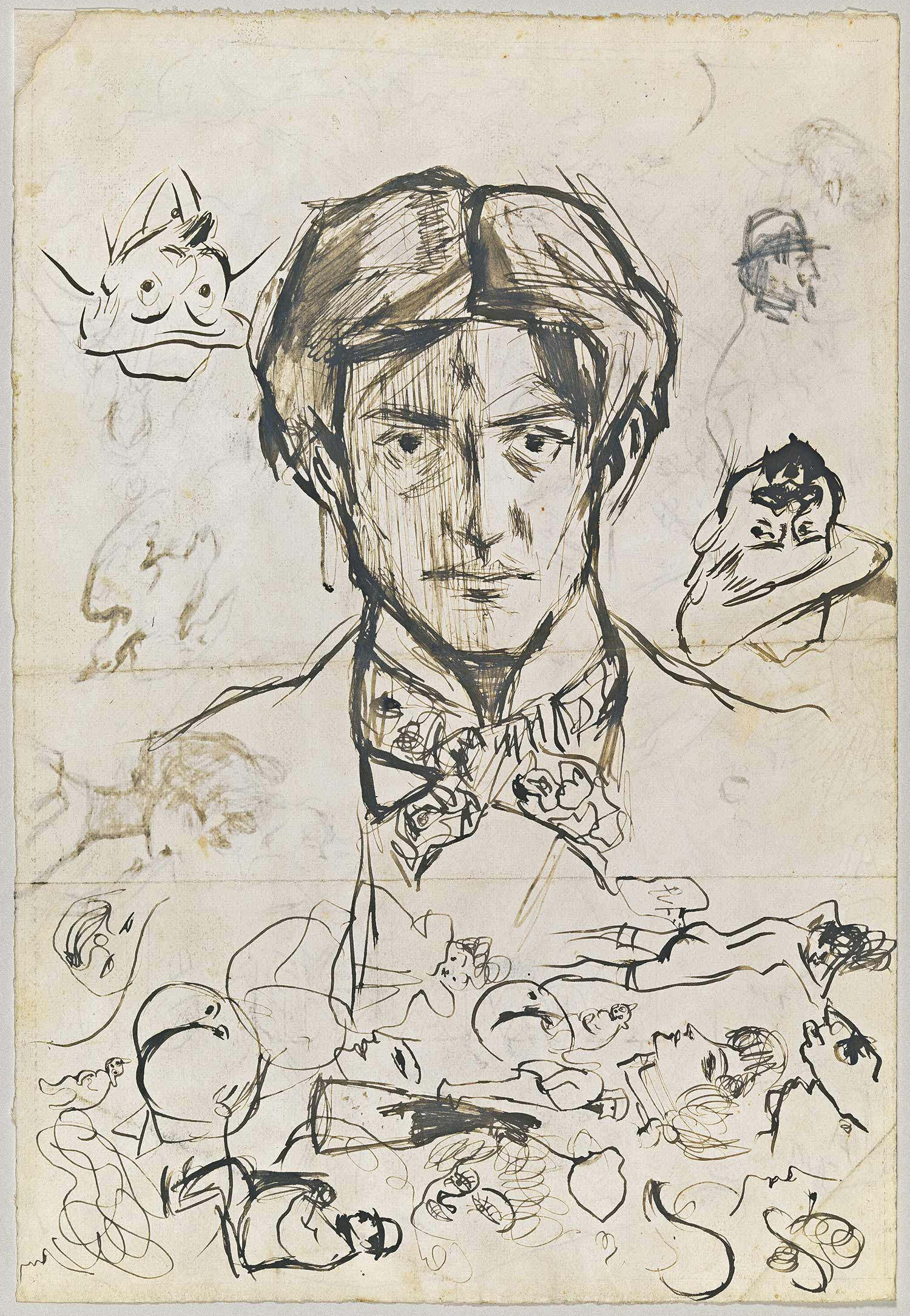 Self-portrait, sketches of Pompeu Gener and Oriol Martí and other sketches