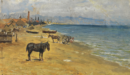 Pablo Picasso - Barceloneta beach - Barcelona, 1896 - Oil on canvas - 24,4 x 34 cm (irregular) - Gift of Pablo Picasso, 1970 - Gasull Fotografia - MPB 110.073