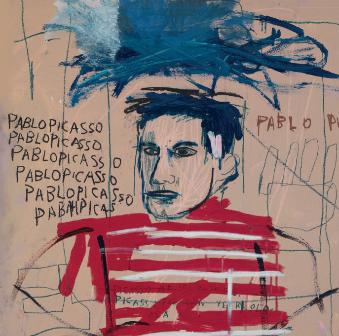 Jean-Michel Basquiat. Untitled (Pablo Picasso), 1984. Oil, acrylic and oil sticks on metal. 90.5 × 90.5 cm. Private Collection, Italy