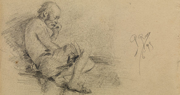 Pablo Picasso. 'Study for Old Fisherman'. Page of the sketchbook. MPB 110.913c. Málaga, June 1895. Graphite pencil on paper. 8.1 x 12.2 cm. Museu Picasso, Barcelona. Gift of Pablo Picasso, 1970 MPB 111.170 © Succession Pablo Picasso, VEGAP, Madrid 2020