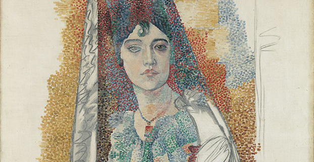 Pablo Picasso. 'Woman with mantilla [Fatma]', Barcelona, June-November 1917. Oil and charcoal on canvas; 116 x 89 cm. Museu Picasso, Barcelona. Gift of Pablo Picasso, 1970. MPB 110.004. Museu Picasso, Barcelona. Photograph, Gasull Fotografia © Succession Pablo Picasso, VEGAP, Madrid 2017