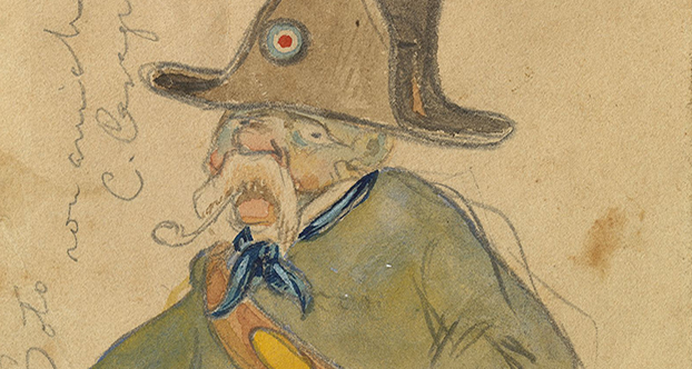 Carles Casagemas. 'Caricature of a forest ranger'. c. 1900. Graphite pencil and watercolour on paper; 11.8 x 8.1 cm (irregular). Museu Picasso, Barcelona. Gift of Pablo Picasso, 1970. MPB 110.944. Museu Picasso, Barcelona. Photograph, Gasull Fotografia © Succession Pablo Picasso, VEGAP, Madrid 2017