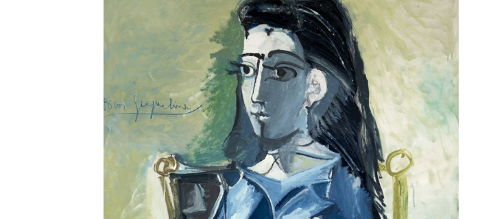 Pablo Picasso. Jacqueline seated in a armchair